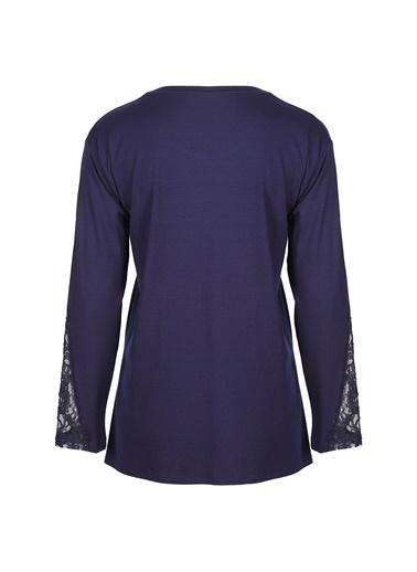 Butik Triko 3797 Taşlı Dantellş Bluz Lacivert